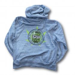 Green Smoke Room Seeds Branded Blue Hoodie - Lime Green Cannabis Leaf