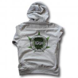 Green Smoke Room Seeds Branded Light Grey Hoodie - Lime Green Cannabis Leaf print