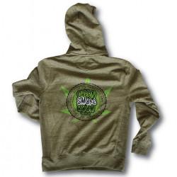 Green Smoke Room Seeds branded, Pale Green hoodie - Lime Green Cannabis Leaf