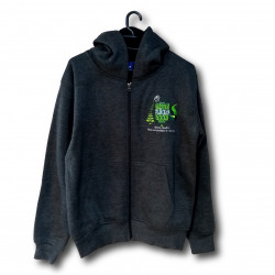 Green Smoke Room Seeds branded, charcoal grey hoodie - White Cannabis Leaf